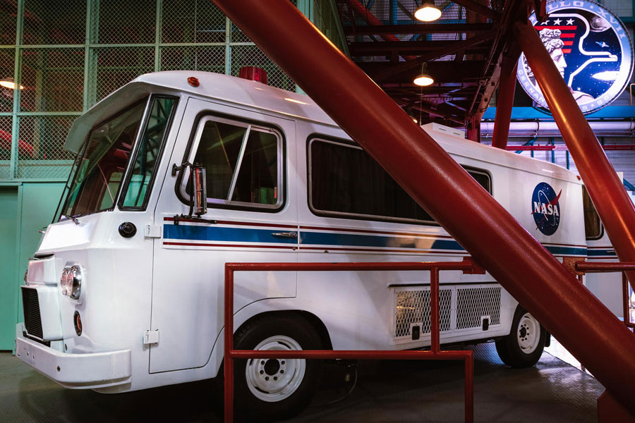 Astronauts used the Astrovan for their ride from crew quarters to the launch pad.