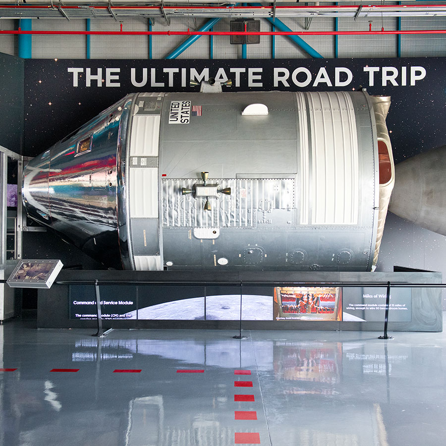 Command Service Module on display at the Apollo/Saturn V Center at Kennedy Space Center Visitor Complex.