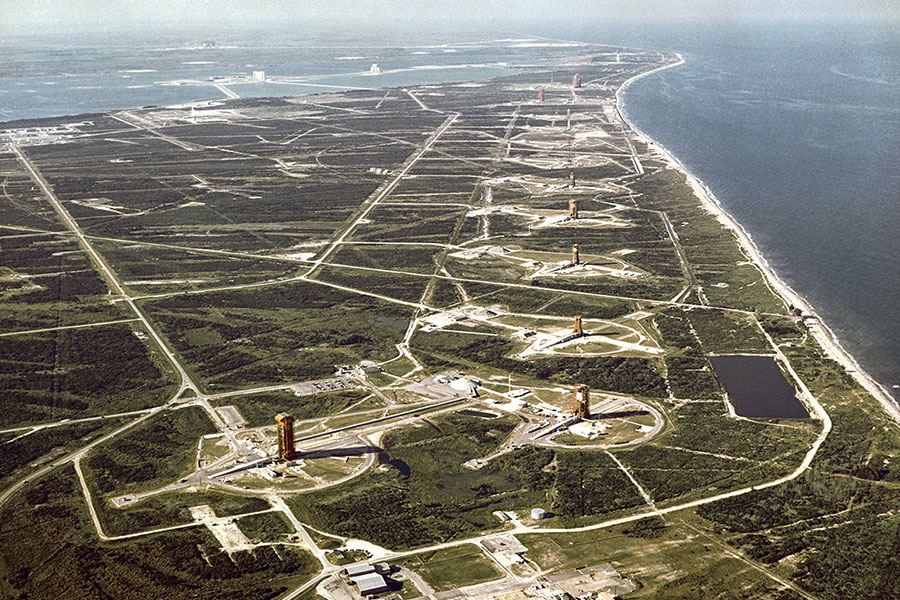Historic photo of the launch pads of Cape Canaveral