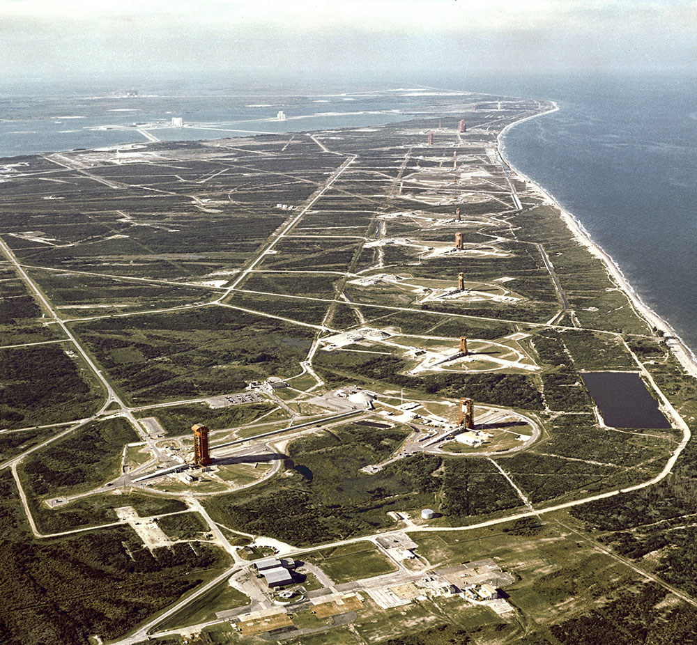 Historic photo of the launch pads at Cape Canaveral