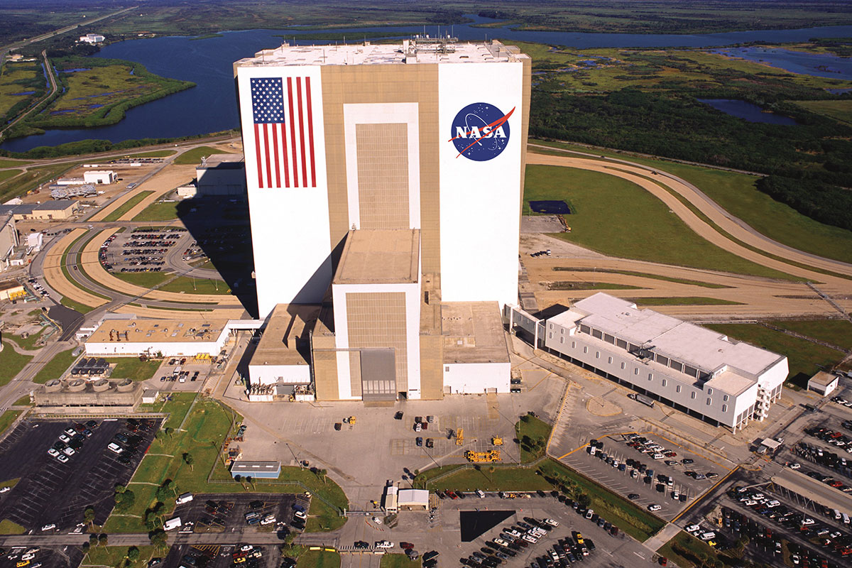 Aerial view of the Vehicle Assembly Building, which is visible on the KSC Bus Tours