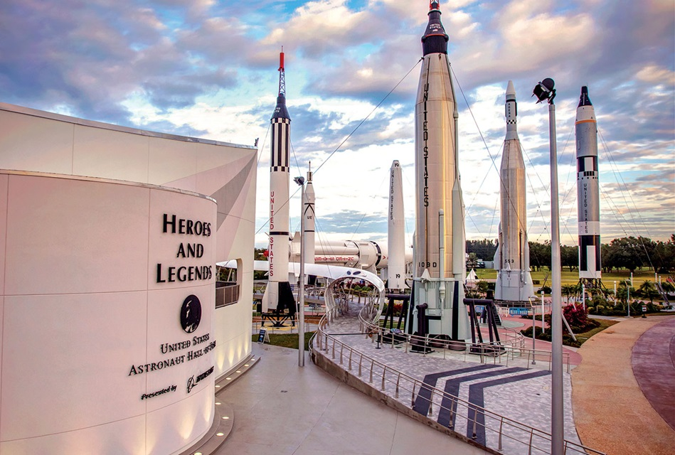 Heroes and Legends presented by Boeing, with the Rocket Garden in the background.