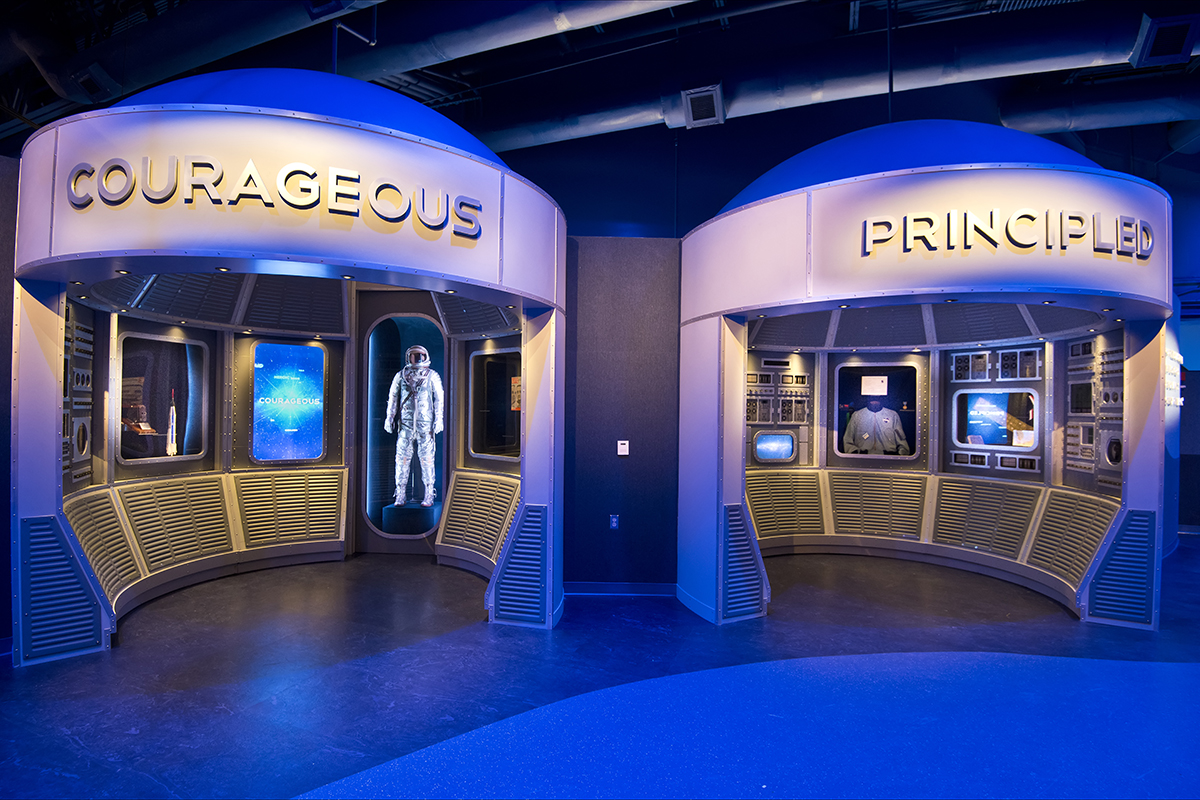 Qualities of an astronaut, courageous and principled, in the Heroes & Legends exhibit.