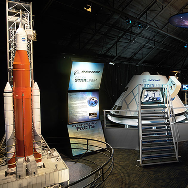 The NASA Now and Next exhibit includes a scale model of NASA Space Launch System, Boeing CST-100 Starliner Crew Vehicle Pressure Vessel, SpaceX Dragon Cargo Vehicle and more, at Kennedy Space Center Visitor Complex.