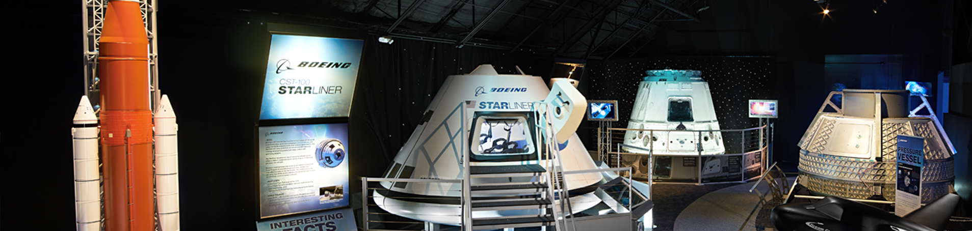 The NASA Now exhibit include a model of the Space Launch System, the Boeing CSt-100 Starliner, SpaceX Dragon Cargo Vehicle and more.