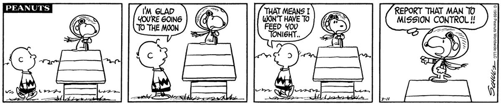 Comic strip of beloved characters Charlie Brown and Snoopy with an Apollo inspired joke.