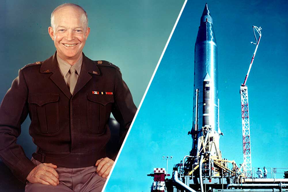 President Eisenhower and the SCORE satellite atop the Atlas rocket from which Eisenhower played his prerecorded Christmas message.
