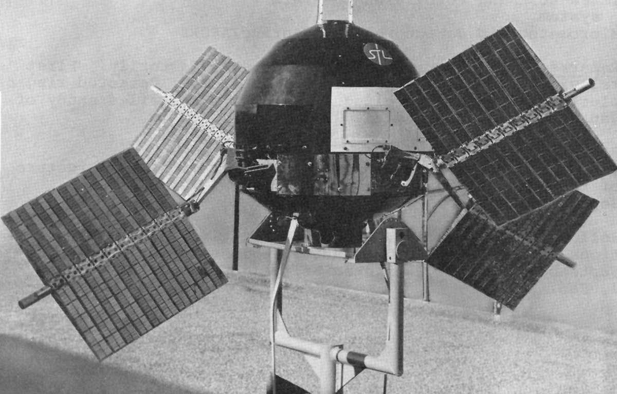 The Explorer 6 satellite with its paddles up.