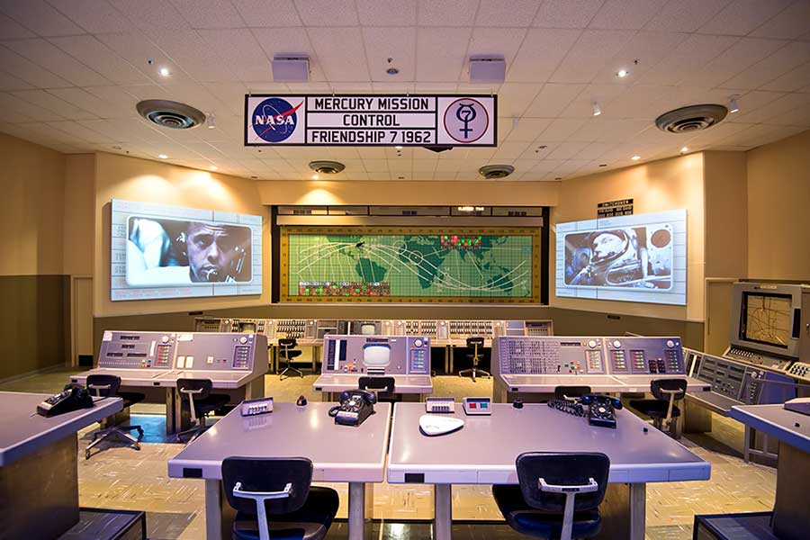 The original Mercury Mission Control room consoles at Kennedy Space Center Visitor Complex.