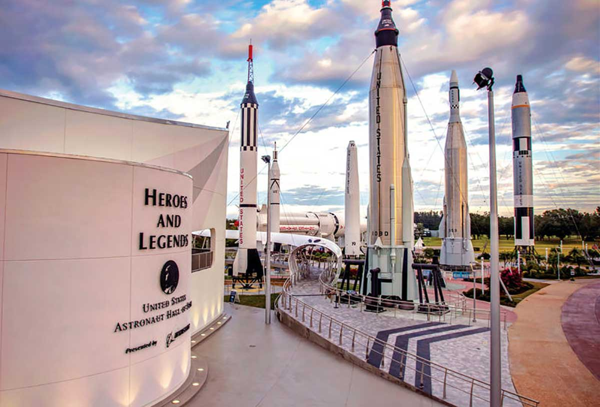 Scenic photo of Heroes and Legends, featuring the U.S. Astronaut Hall of Fame, near the Rocket Garden at Kennedy Space Center Visitor Complex.