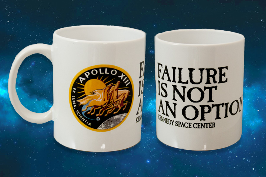 Ceramic mug with the saying 'Failure is not an option' and the Apollo path printed on it.