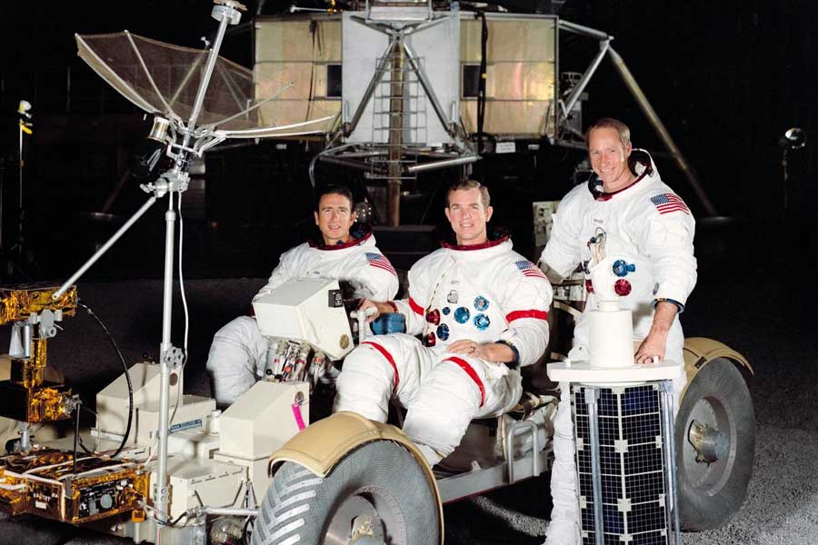 These three astronauts have been named by the National Aeronautics and Space Administration (NASA) as the prime crew men of the Apollo 15 lunar landing mission. They are, left to right, James B. Irwin, lunar module pilot; David R. Scott, commander; and Alfred M. Worden, command module pilot.