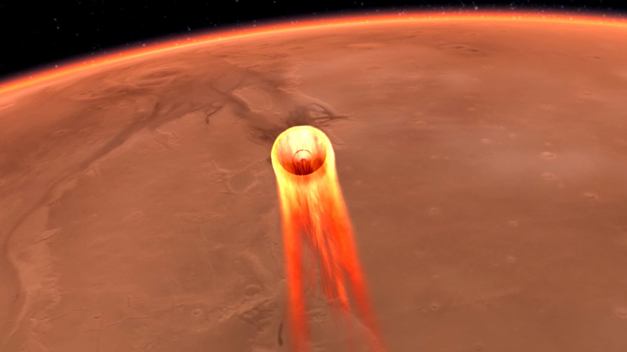 The entry, descent, and landing (EDL) begins when the InSight spacecraft reaches the Martian atmosphere, about 80 miles (about 128 kilometers) above the surface, and ends with the lander safe and sound on the surface of Mars six minutes later.