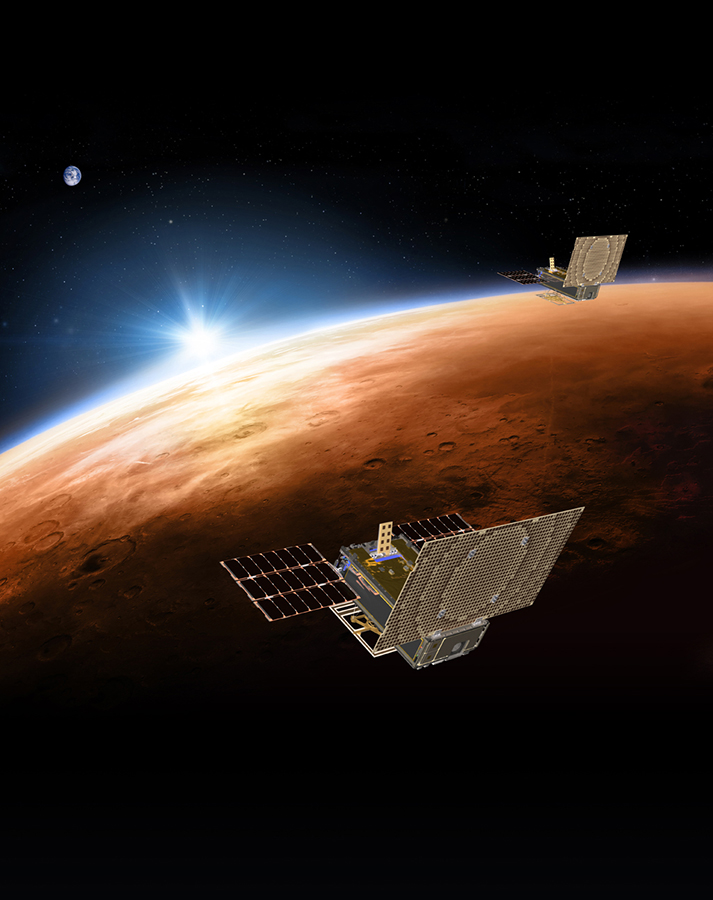 Two Cubesats called Mars Cube One, or MarCO will fly on their own path to Mars behind InSight.