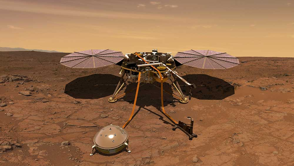The Mars InSight probe is shown in this artist's rendition operating on the surface of Mars.
