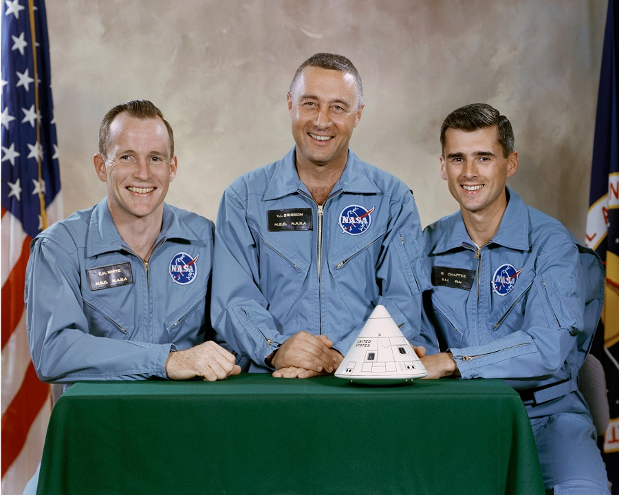 The Crew of Apollo 1 (left to right): Edward H. White II, command module pilot; Virgil I. Grissom, mission commander; and Roger B. Chaffee, lunar module pilot.
