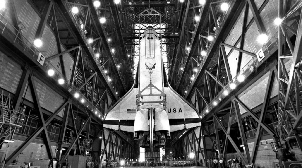 Space Shuttle Columbia vertical in the Vehicle Assembly Building.