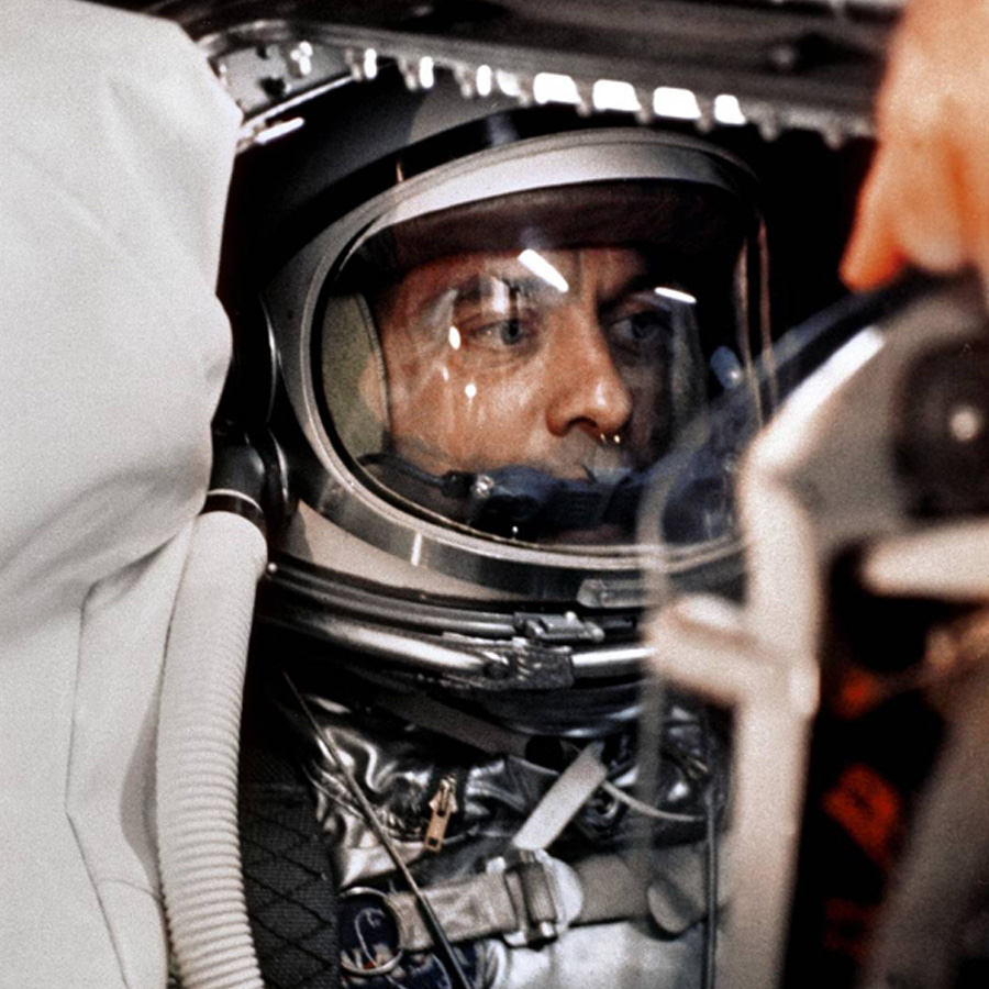 Astronaut Alan B. Shepard, Jr. sits in his Freedom 7 Mercury capsule, ready for launch. Just 23 days earlier, Soviet cosmonaut Yuri Gagarin had become the first man in space.