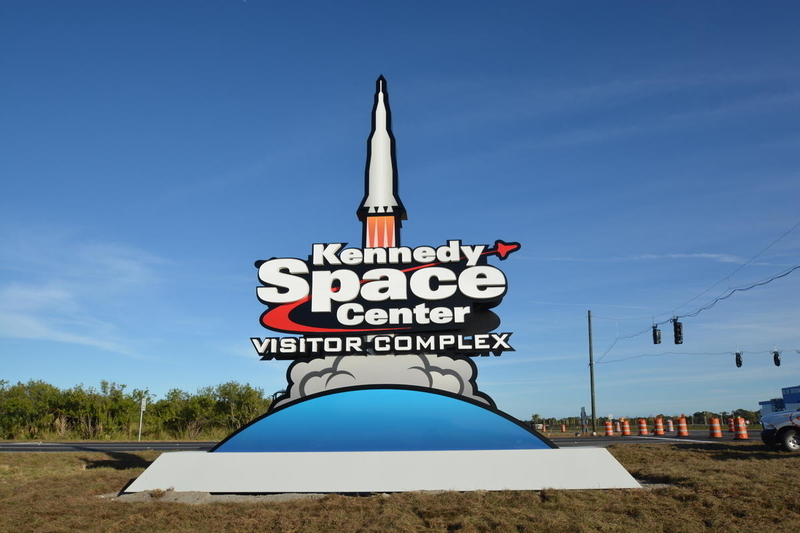 Monument at the new entrance of Kennedy Space Center Visitor Complex, viewed from Space Commerce Way.
