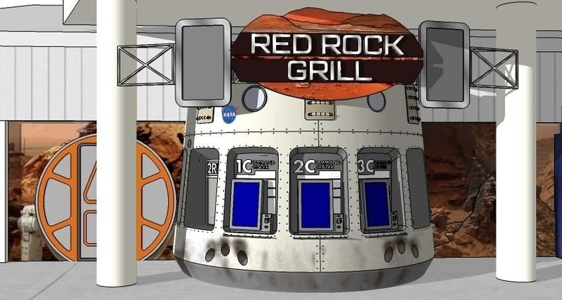 Red Rock Grill replaces G-Force Grill, located next to Journey to Mars.