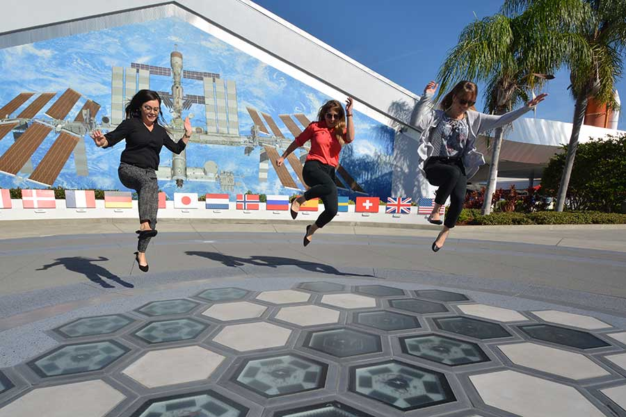 Guests jumping on the piezoelectric tile at Step. Power. Launch!