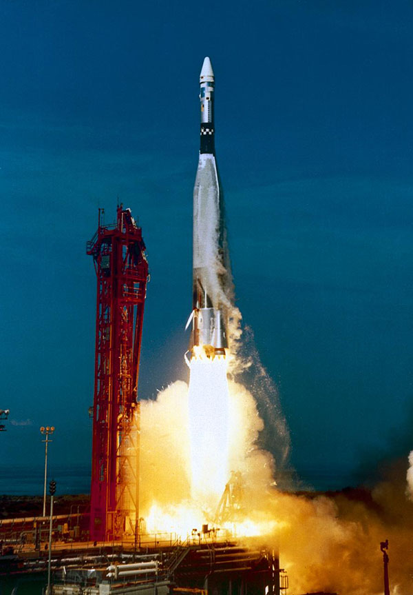 Launched atop an Atlas booster, the Agena target vehicle (ATV) was a spacecraft used by NASA to develop and practice orbital space rendezvous and docking techniques in preparation for the Apollo program lunar missions.