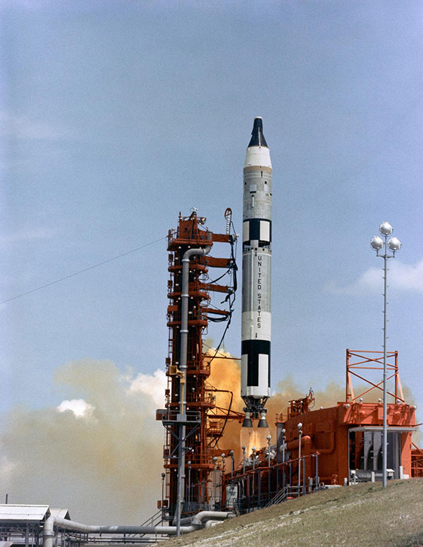 Gemini/Titan-II launch vehicle #1 liftoff at Cape Kennedy, Florida on April 8th, 1964.