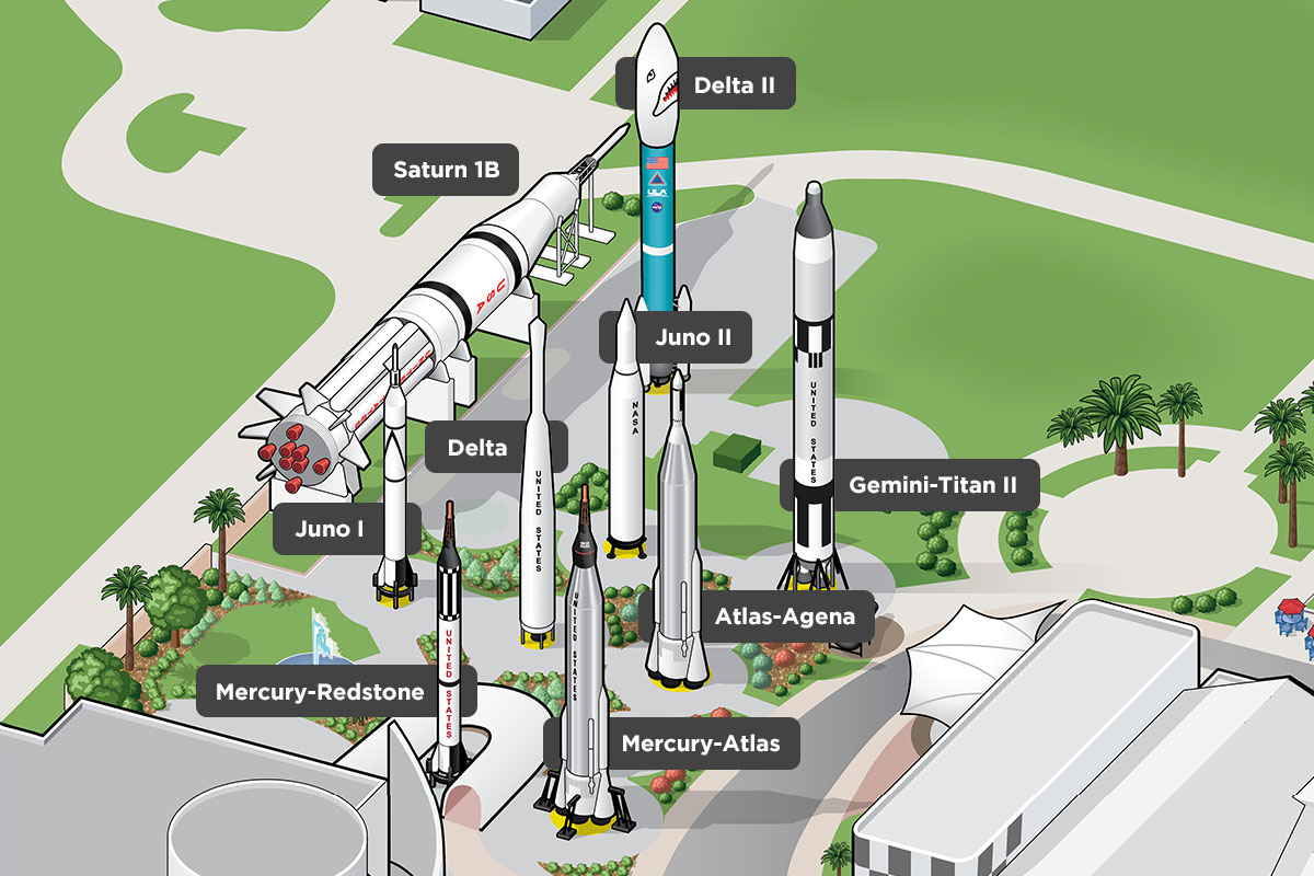 Map of the Rocket Garden with the titles of each rocket.