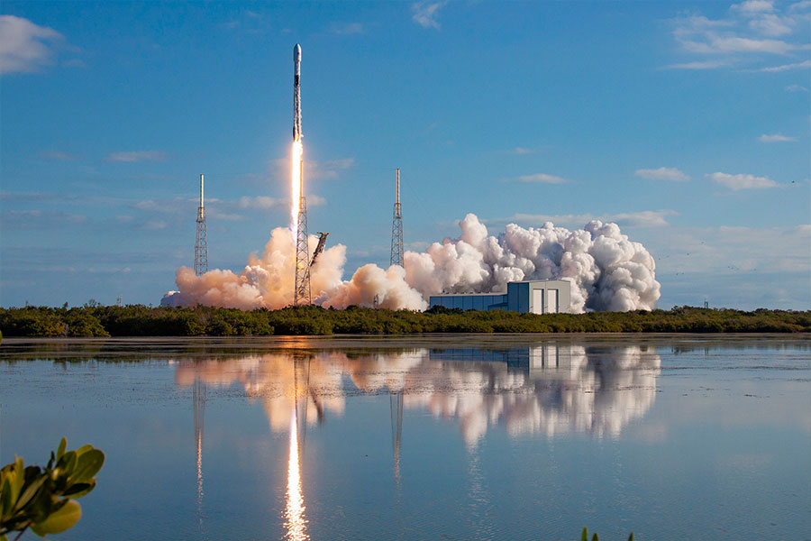 The SpaceX Falcon 9 Starlink launches from Cape Canaveral.