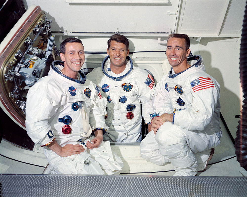 The crew of Apollo 7, Commander Walter Schirra, Lunar Module Pilot Walter Cunningham and Command Module Pilot Donn Eisele, pose after a successful mission in 1968.
