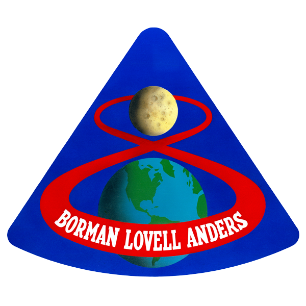 Apollo 8 patch displaying the earth and moon with the crewmembers names: Astronauts Frank Borman, James A. Lovell Jr., and William A. Anders.