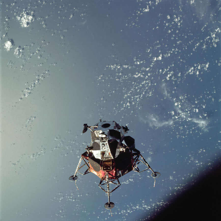 A view of the Apollo 9 Lunar Module (LM) 'Spider' in a lunar landing configuration from the Apollo 9 Earth-orbital mission.