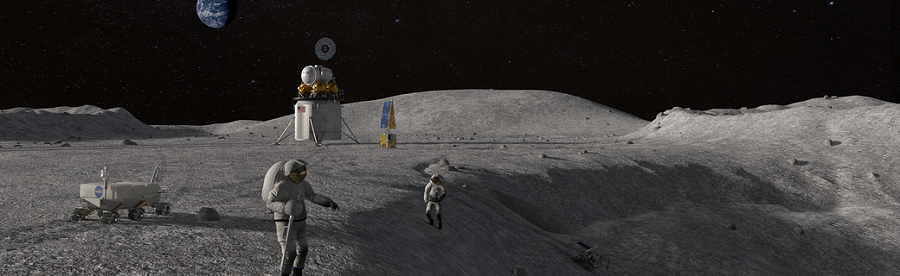 A mockup of astronauts, spacecraft and scientific gear on the moon illustrate NASA's plan to go to the moon in 2024.