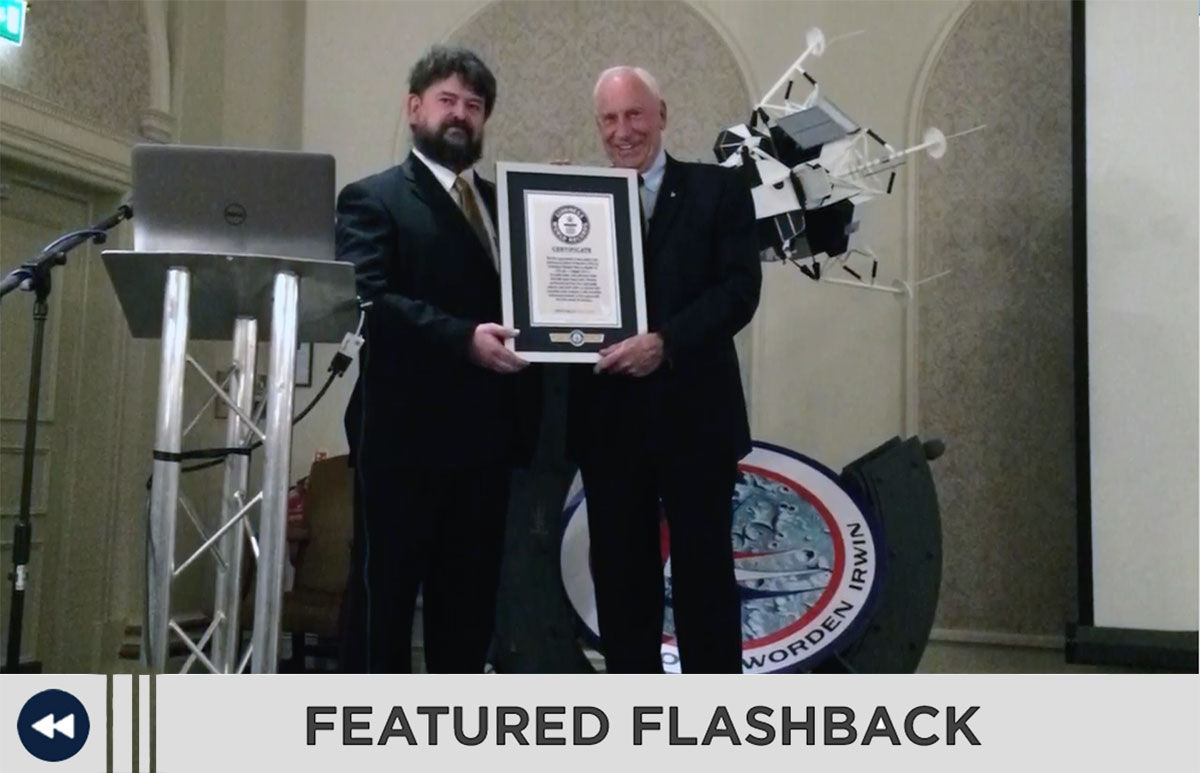 Astronaut Al Worden receiving his Guiness World Records for being the lonliest man and the first spacewalk.