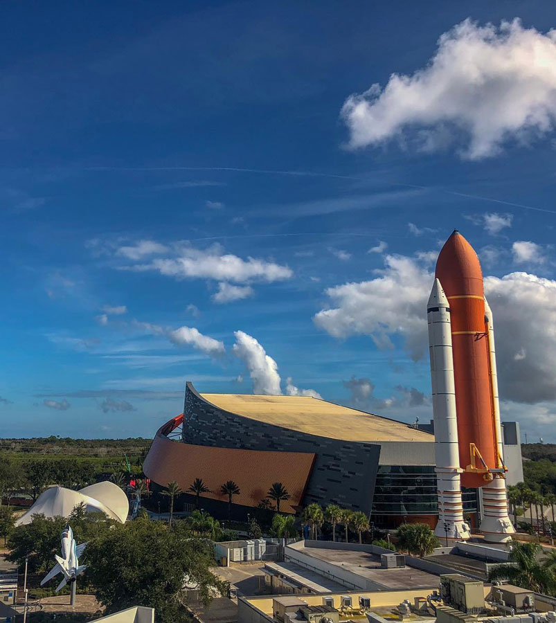 View of the Space Shuttle Atlantis exhibit and more of the visitor complex.