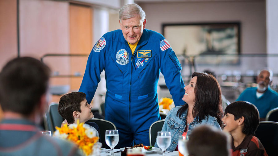 You can meet an astronaut, such as astronaut Jon McBride, during a catered lunch at Dine with an Astronaut.