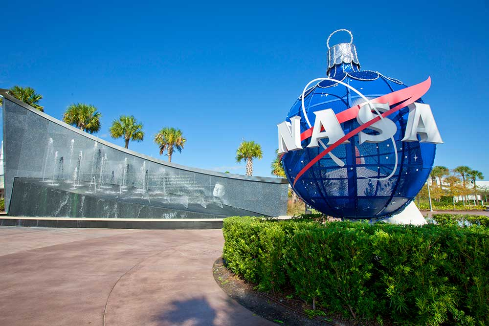 The Kennedy Space Center celebrates the holidays with decor such as the