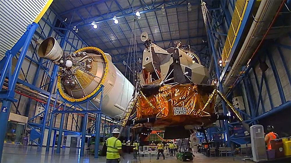 Watch as the lunar module 'lands' at the Apollo/Saturn V Center.