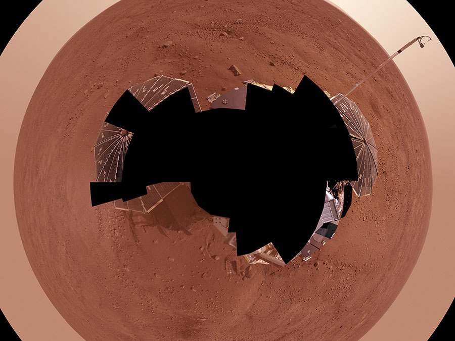 Taken by NASA's Phoenix Mars Lander, this combines more than 400 images of the Red Planet's northernmost region.