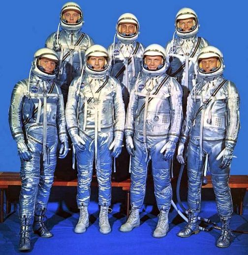 Mercury Seven Astronauts in Spacesuits