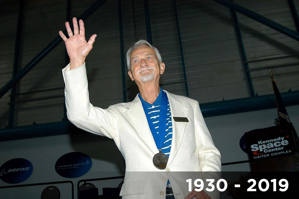 Former astronaut Owen Garriott acknowledges the applause as he is introduced as a previous inductee into the U.S. Astronaut Hall of Fame at Kennedy Space Center Visitor Complex.