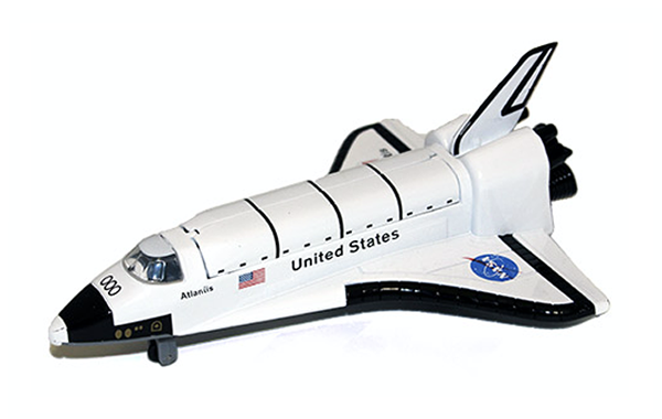 Space shuttle Atlantis pull back toy available at the Space Shop