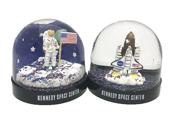 Astronaut and Shuttle snow globes available at the Space Shop