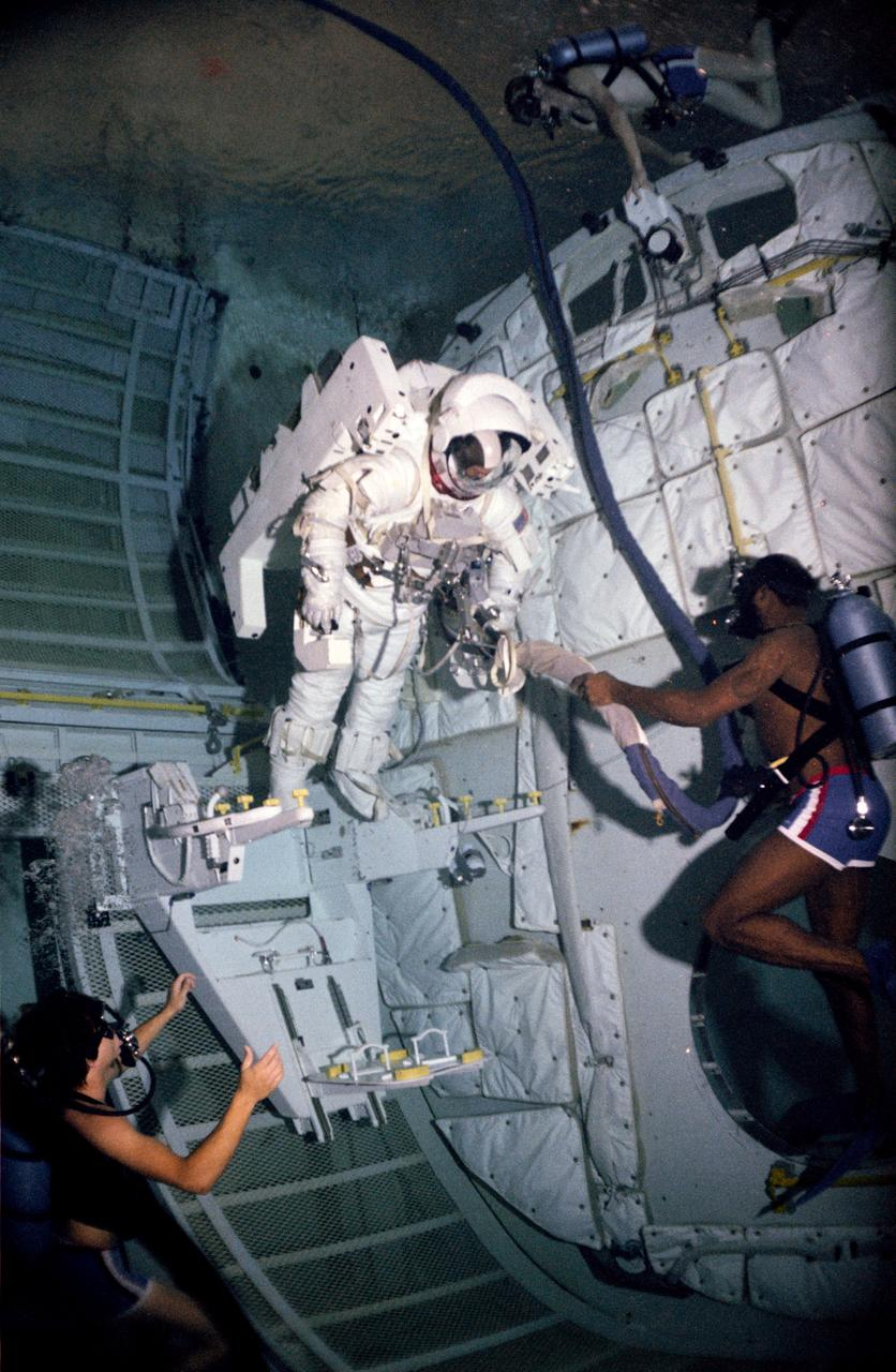 Astronaut Bruce McCandless during an underwater test of the Manned Maneuvering Unit.