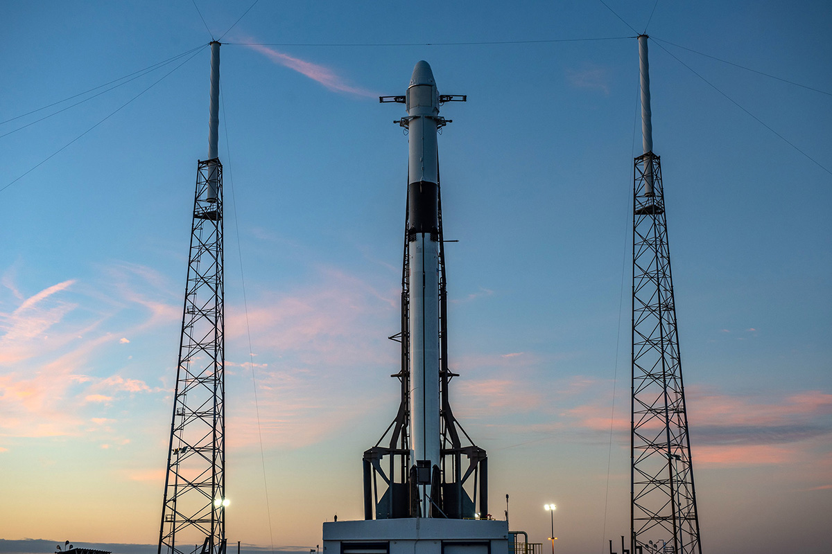 SpaceX CRS-16 rocket sitting on the launch pad