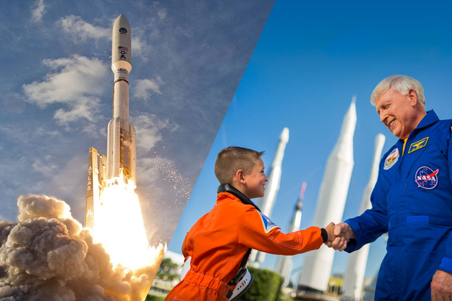 A combined photo of an Atlas V launch and of astronaut Jon McBride shaking hands with a child.