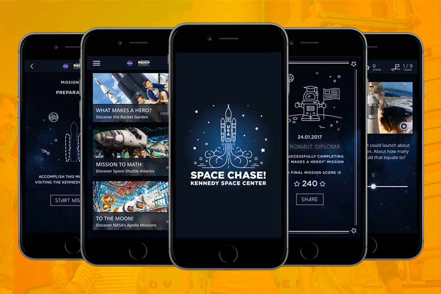 Screenshots of Space Chase! app