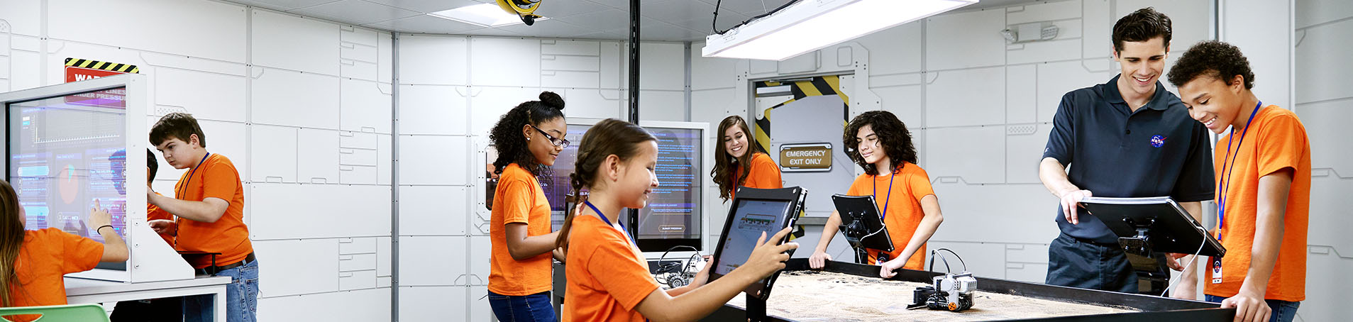 Campers in the Robotics Lab at Camp Kennedy Space Center