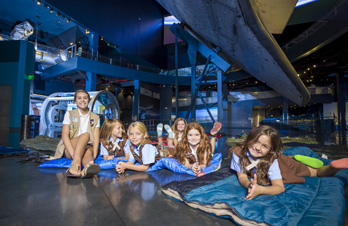Girl Scouts at Overnight Adventure Program at Kennedy Space Center