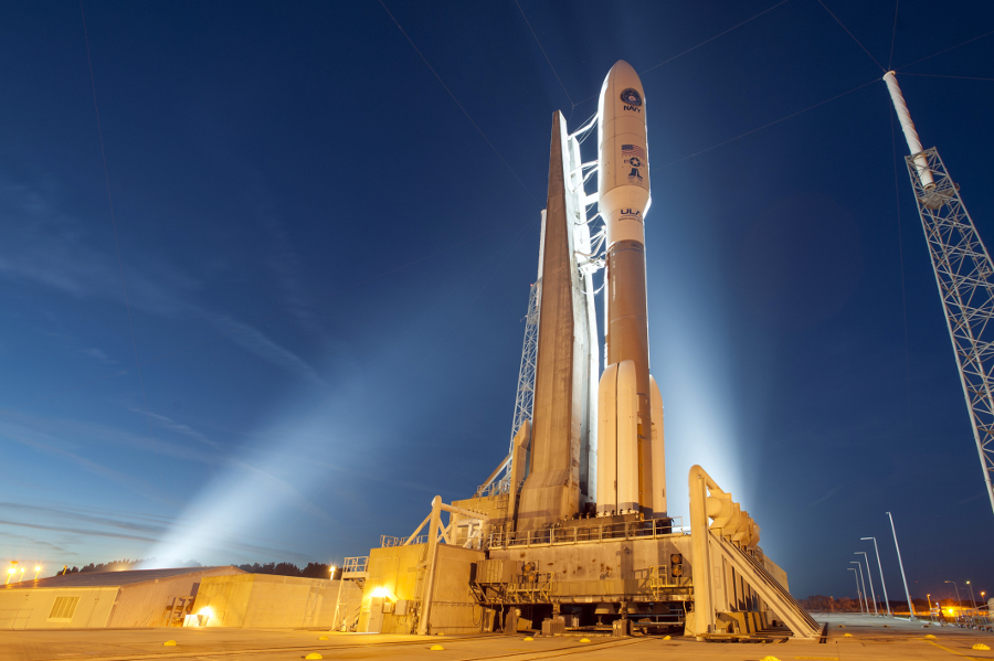 A United Launch Alliance Atlas V rocket on the launchpad.
